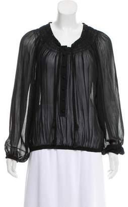 Barbara Bui Silk-Wool Long Sleeve Blouse