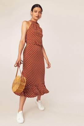 Oasis Womens Brown Spot Halter Dress - Brown