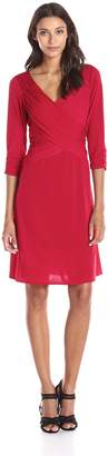 NY Collection Women's 3/4 Sleeve Cross Front Dress