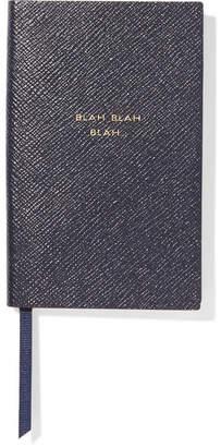 Smythson Panama Blah Blah Blah Textured-leather Notebook - Navy
