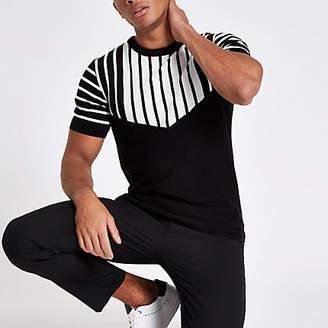 River Island Black knit slim fit chevron split T-shirt