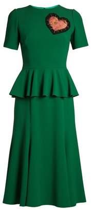 Dolce & Gabbana - Heart Embellished Round Neck Peplum Dress - Womens - Green