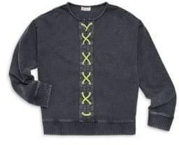 Design History Girl's Lace-Up Sweatshirt