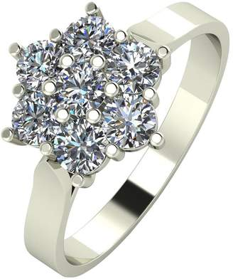 at Littlewoods Moissanite 9ct White Gold 1ct Equivalent Flower Cluster Ring