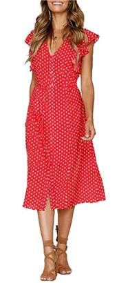 CLOUSPO Summer Dresses for Women Casual Button Polka Dot Sleeveless V Neck Swing (, L)