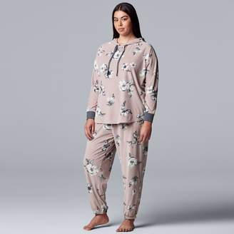 Vera Wang Plus Size Simply Vera Velour Hooded Top & Pajama Pants Set