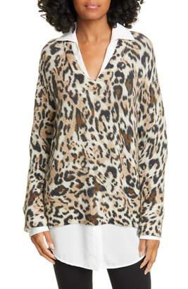 Brochu Walker Leopard Print Layered Sweater