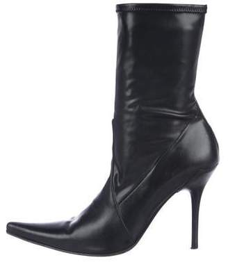 Casadei Leather Pointed-Toe Ankle Boots