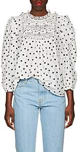 Ulla Johnson Women's Bailey Bibbed Dotted Voile Blouse - White