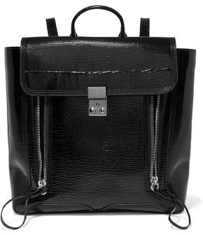 3.1 Phillip Lim Pashli Patent Textured-Leather Backpack