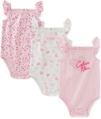 Calvin Klein 3-Pk. Flutter-Sleeve Hearts Bodysuits, Baby Girls (0-24 Months) $42 thestylecure.com
