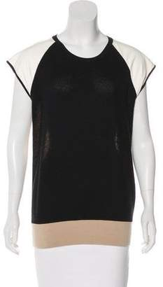 Reed Krakoff Leather-Paneled Knit Top