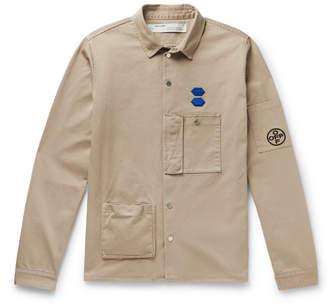 Off-White Appliquéd Cotton Shirt Jacket
