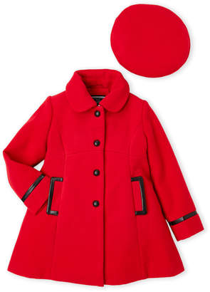 Rothschild (Toddler Girls) Two-Piece Faux Leather Trim Wool Coat & Beret Set