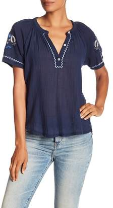 Lucky Brand Embroidered Knit Top