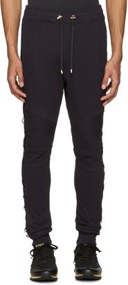Balmain Navy Lace-Up Lounge Pants $1,020 thestylecure.com