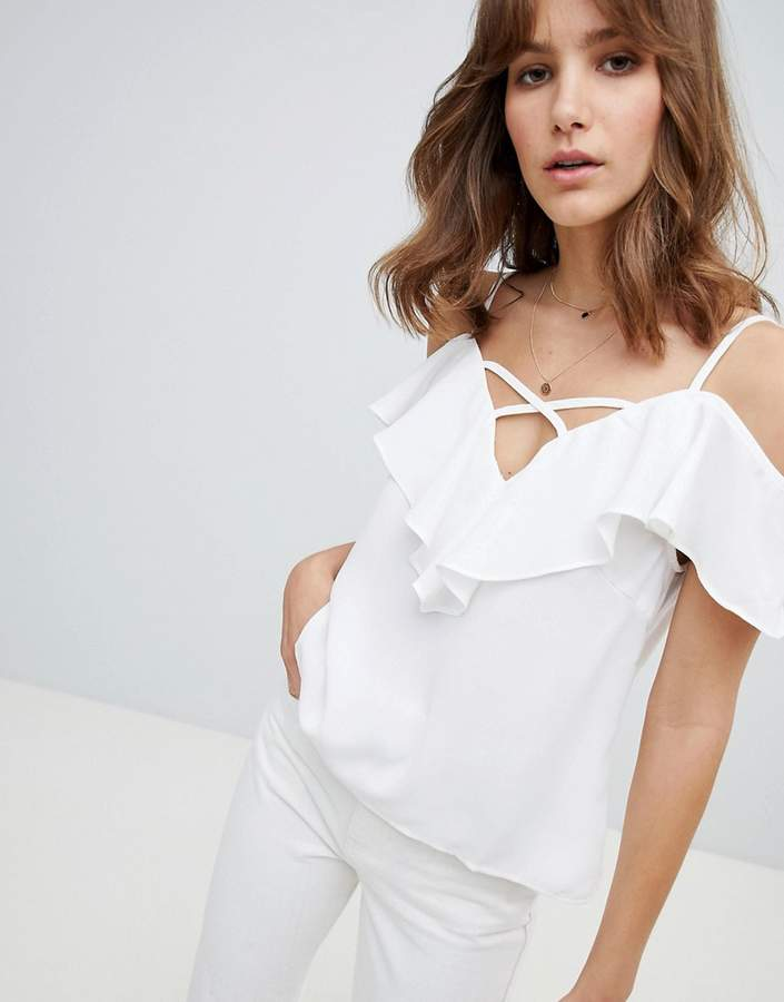 Lunik Cold Shoulder Top With Ruffle
