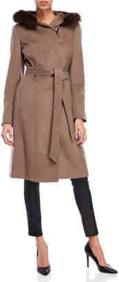 Ellen Tracy Real Fur Trim Hooded Wrap Coat