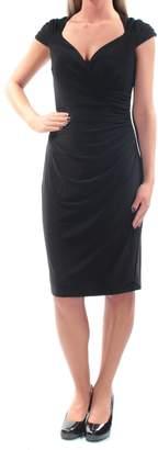 Ralph Lauren Womens Ruched Cap Sleeve V Neck Knee Length Sheath Evening Dress US Size: