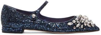 Miu Miu Blue Embellished Glitter Ballerina Flats