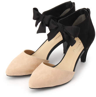 Couture Brooch (クチュール ブローチ) - クチュール ブローチ Couture brooch リボンストラップパンプス (ブラック×ベージュ)