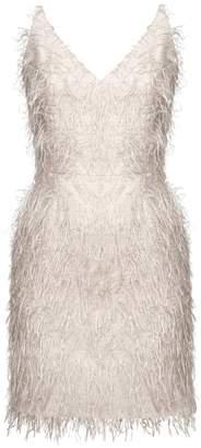 BEIGE UNDRESS - Ferly Metallic Faux Feather Mini Dress