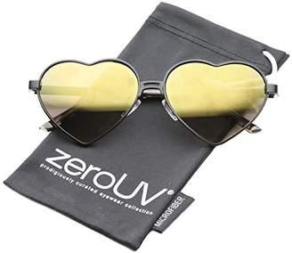 Zerouv Women's Cute Fashion Wire Metal Inset Lens Love Lolita Heart Shaped Aviator Sunglasses