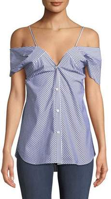 Theory Off-the-Shoulder Button-Down Hartman Stripe Blouse