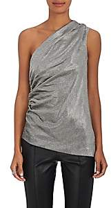 Barneys New York Women's Silk-Blend One-Shoulder Blouse - Silver