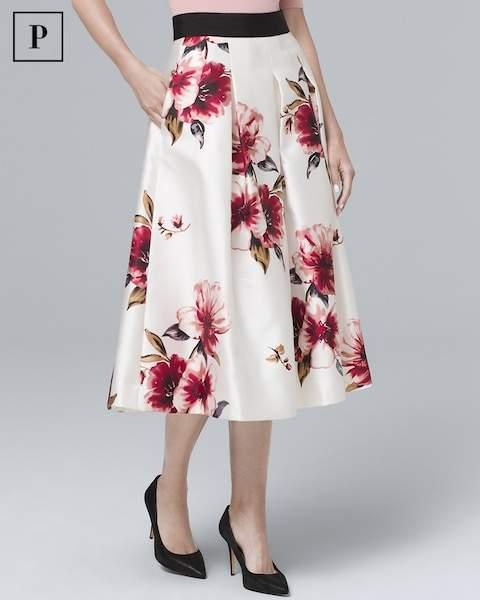 Whbm Floral Full Midi Skirt