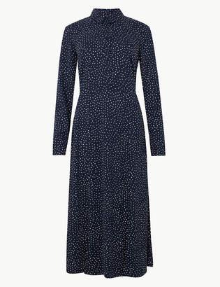 Marks and Spencer Polka Dot Long Sleeve Shirt Midi Dress