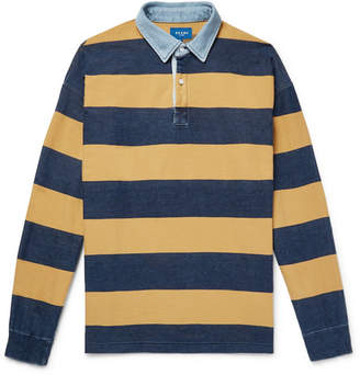 Beams Chambray-Trimmed Striped Cotton-Twill Polo Shirt