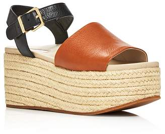 Kenneth Cole Women's Indra Leather Platform Wedge Espadrille Sandals