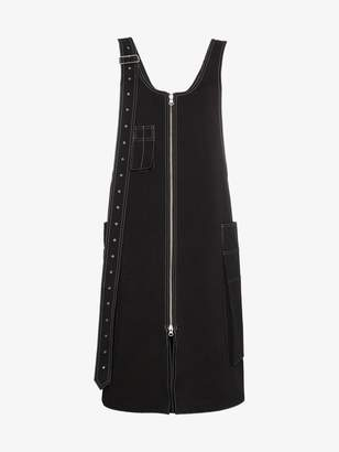 Blindness cotton zip dress with contrasting stitching