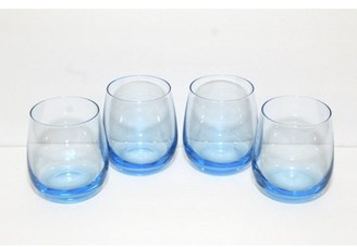 GM Glass Ocean Blue Naturally Colored Stemless Wine Glass Tumblers 4 pack