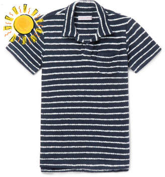 Orlebar Brown Boys Ages 4 - 12 Digby Striped Cotton-Terry Polo Shirt - Navy