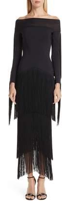 Chiara Boni Hadel Fringe Trim Gown