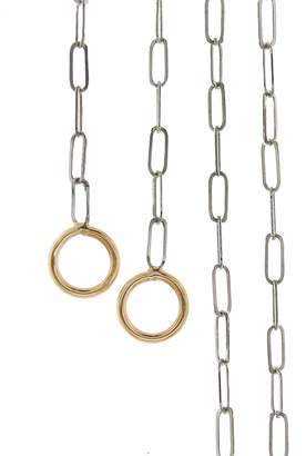 Marla Aaron Square Link Necklace - Silver and Yellow Gold