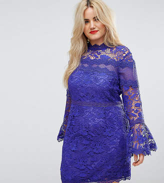 Asos Lace Long Sleeve Mini Dress With Fluted Sleeves