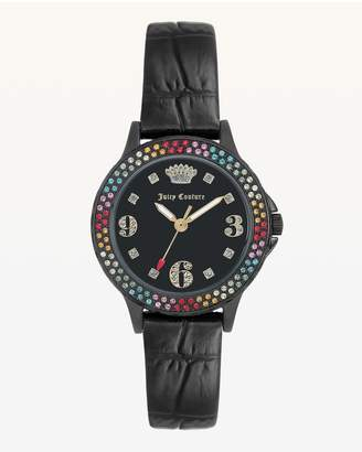 Juicy Couture Rainbow Crystal Bezel Leather Watch