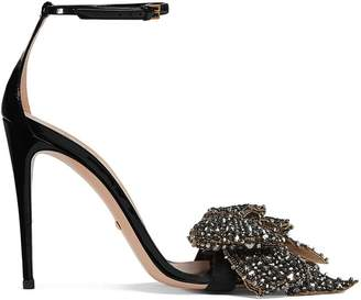 Gucci Patent leather sandals with removable crystal bows