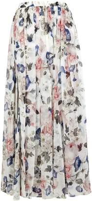 Erdem Lindie Floral-print Silk Midi Skirt