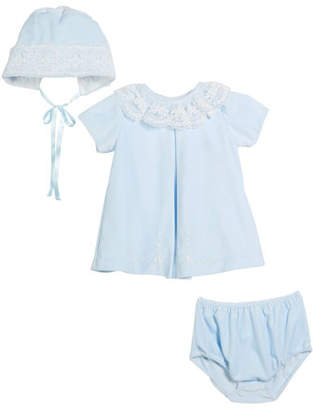 Luli & Me Velour Lace Dress w/ Hat & Diaper Cover, Size 3-24 Months