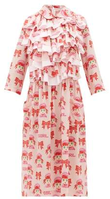 Comme des Garcons Ruffled Cartoon Print Crepe Midi Dress - Womens - Pink