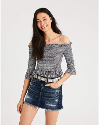 American Eagle AE Smocked Off-The-Shoulder Long Sleeve Crop Top