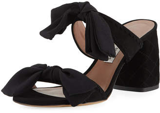 Tabitha Simmons Barbi Bow Suede Slide Sandal, Black