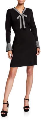 Nanette Lepore Nanette Tie-Neck Flare-Sleeve Sweater Dress