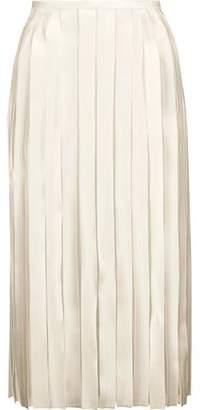 Dion Lee Pleated Silk-Satin And Silk-Georgette Midi Skirt
