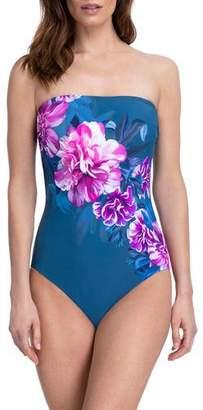 Gottex Fiji Floral Bandeau One-Piece Swimsuit