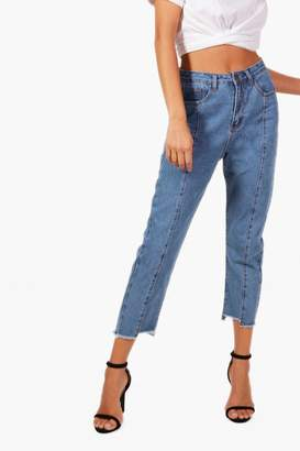 boohoo Seam Front Step Hem Straight Leg Jeans